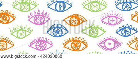 Hand Drawn Human Eyes Cartoon Seamless Ornament.