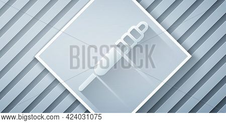 Paper Cut Audio Jack Icon Isolated On Grey Background. Audio Cable For Connection Sound Equipment. P