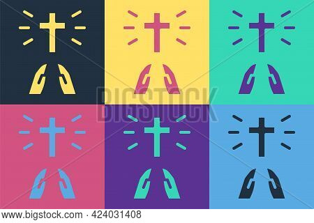 Pop Art Hands In Praying Position Icon Isolated On Color Background. Prayer To God With Faith And Ho