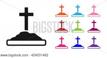 Black Grave With Cross Icon Isolated On White Background. Set Icons Colorful. Vector