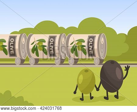 Olives Characters Looking At Tinned Cans Of Olives. Back View Of Cartoon Green And Black Olives Flat