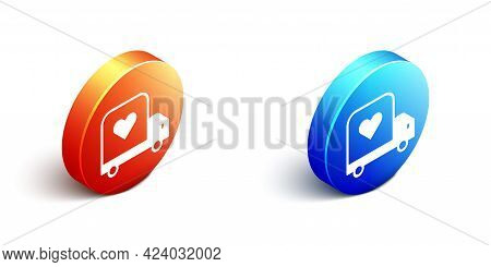 Isometric Delivery Truck With Heart Icon Isolated On White Background. Love Delivery Truck. Love Tru