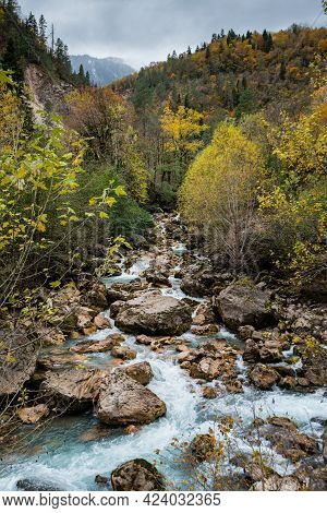 Mountain River Autumn-winter Time Period. Cloudy Weather Overcast. Landscape