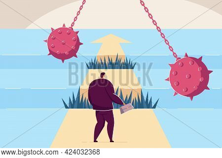 Difficult Path Of Businessman To Success, Full Of Obstacles. Flat Vector Illustration. Brave Guy Goi