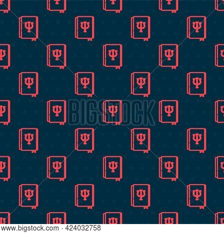 Red Line Psychology Book Icon Isolated Seamless Pattern On Black Background. Psi Symbol. Mental Heal