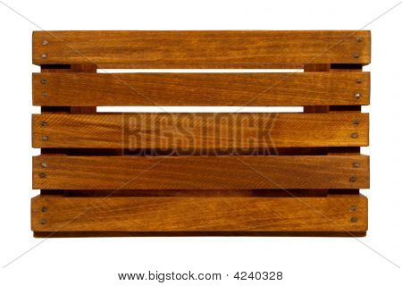 Old Wood Crate with Wooden Slats Isolated on White