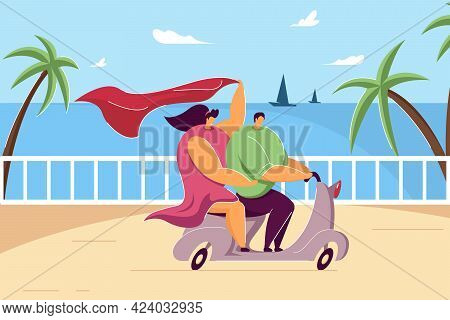 Happy Couple Riding Motorbike On Summer Holiday. Flat Vector Illustration. Cartoon Young Man And Gir