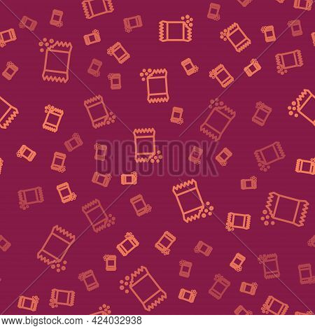 Brown Line Packet Of Pepper Icon Isolated Seamless Pattern On Red Background. Vector