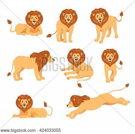 Cute Cartoon Lion In Different Poses Vector Illustration Set. Happy Orange-colored Feline Animal Wal