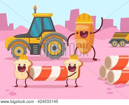 Toast Characters Carrying Striped Pillar On Construction Site. Bread Foreman Commanding Team Of Work