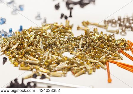 nickel fasteners heap, close-up view