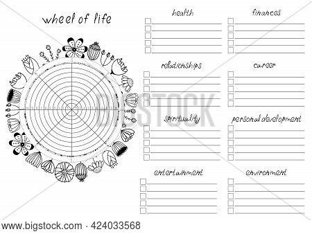 Printable A4 Paper Sheet With Wheel Of Life - Diagram With Blank Lines To Fill And Hand Drawn Flower
