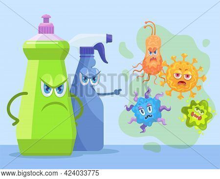Angry Detergent Characters Scolding Bacteria. Disinfectant Chemical Products For Laundry Or Toilet P