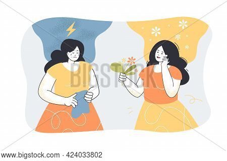 Girl In Good And Bad Mood. Inside Head Of Woman With Premenstrual Syndrome, Calm Mind And Stress Fla