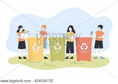 Kids Recycling Trash. Boy Throwing Paper In Dustbin, Child Sorting Garbage Flat Vector Illustration.