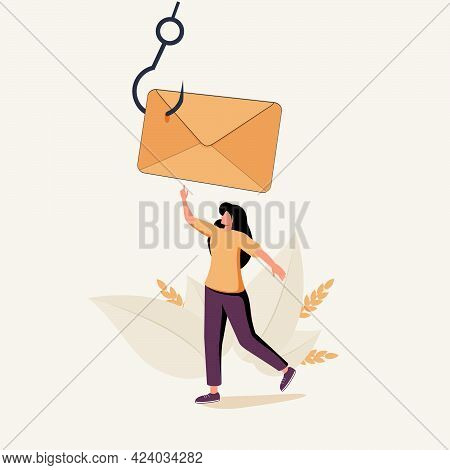 Woman Taking Envelope Put On Hook. Concept Of Fishing Electronic Message, Suspicious E-mail, Scam Le