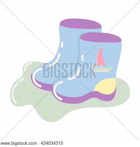 Children's Blue Rubber Boots With A Boat. A Pair Of Boots In A Cartoon Style On A White Background.