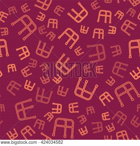 Brown Line Walker For Disabled Person Icon Isolated Seamless Pattern On Red Background. Vector