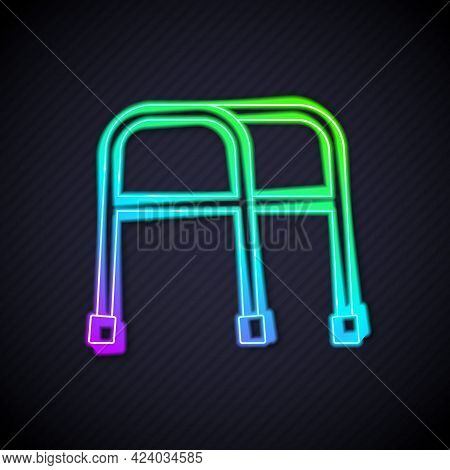 Glowing Neon Line Walker For Disabled Person Icon Isolated On Black Background. Vector
