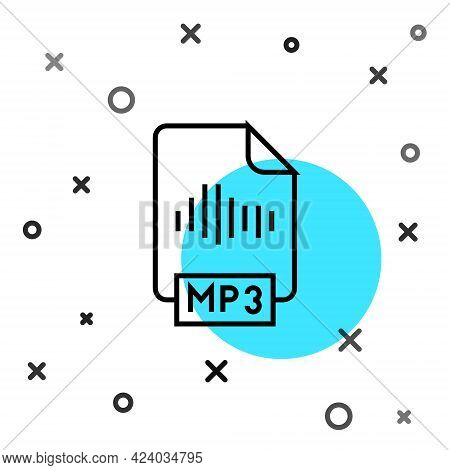Black Line Mp3 File Document. Download Mp3 Button Icon Isolated On White Background. Mp3 Music Forma