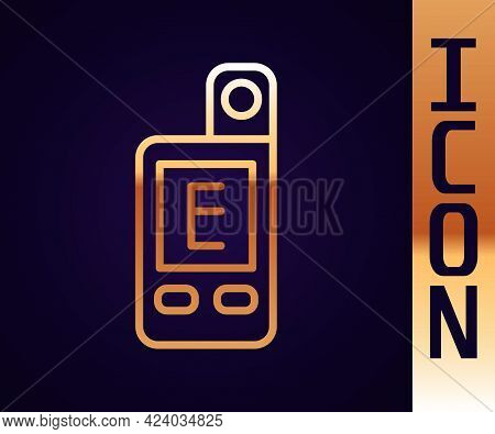 Gold Line Light Meter Icon Isolated On Black Background. Hand Luxmeter. Exposure Meter - A Device Fo