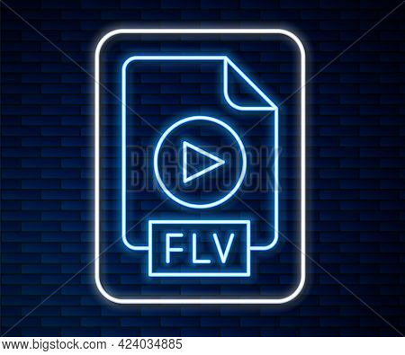 Glowing Neon Line Flv File Document Video File Format. Download Flv Button Icon Isolated On Brick Wa