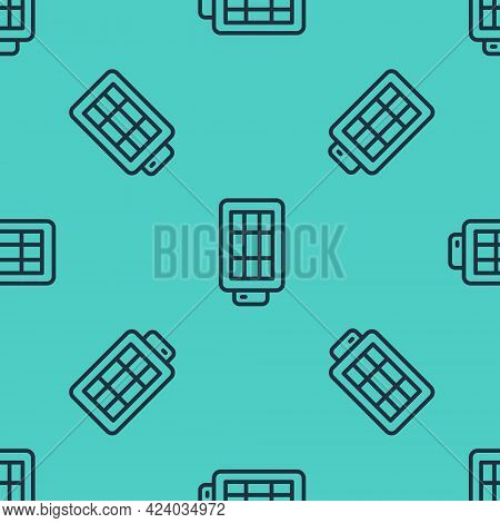 Black Line Studio Light Bulb In Softbox Icon Isolated Seamless Pattern On Green Background. Shadow R