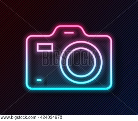 Glowing Neon Line Photo Camera Icon Isolated On Black Background. Foto Camera. Digital Photography.