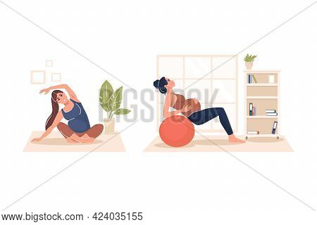 Set. A Pregnant Woman Performs Gymnastics. Taking Care Of The Body And Health. Happy Pregnancy. Futu