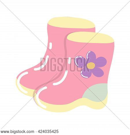 Pink Children's Rubber Boots With A Yellow Sole And A Purple Flower On The Side. Pair Of Boots In Ca