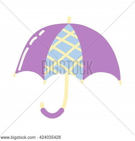 Purple Umbrella Cartoon Style On White Background.  Flat Design.doodle With Colorful Umbrell. Summer