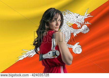 Beauty Industry In Butane. Happy Female Hairdresser Holding Hairdryer Against Butane Flag Background