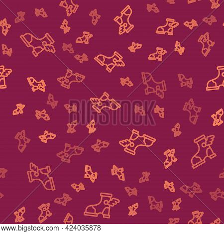 Brown Line Hermes Sandal Icon Isolated Seamless Pattern On Red Background. Ancient Greek God Hermes.