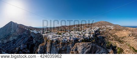 Folegandros Island, Greece, Cyclades. Panoramic Aerial Drone View