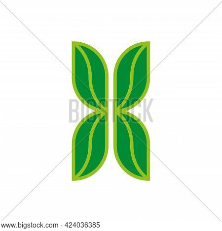 Letter X Logo Eco Symbol From Four Green Leaves Of Plant, Creative Ecology Symbol