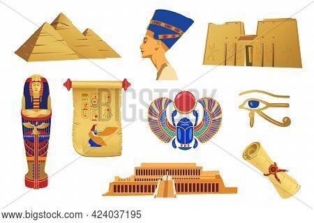 Golden Symbols Of Ancient Egypt Vector Illustration Set. Cartoon Sphynx, Nefertiti, Pharaoh Statue,