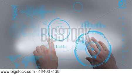 Digital interface with data processing against close up of hands touching invisible screen. computer interface and futuristic technology concept