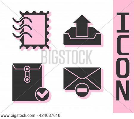 Set Delete Envelope, Postal Stamp, Envelope And Check Mark And Upload Inbox Icon. Vector