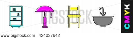 Set Library Bookshelf, Table Lamp, Chair And Washbasin With Water Tap Icon. Vector