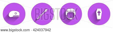Set Military Beret, Medieval Spear, Helmet And Coffin With Cross Icon With Long Shadow. Vector