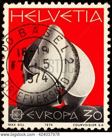 Moscow, Russia - June 14, 2021: Stamp Printed In Switzerland Shows Sculpture Continuity By Swiss Art