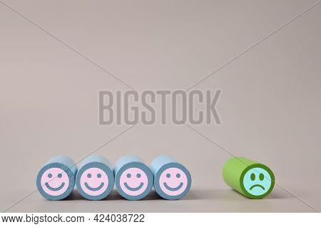 Sad And Happy Face Wooden Blocks. Customer Evaluation And Satisfaction Concept.