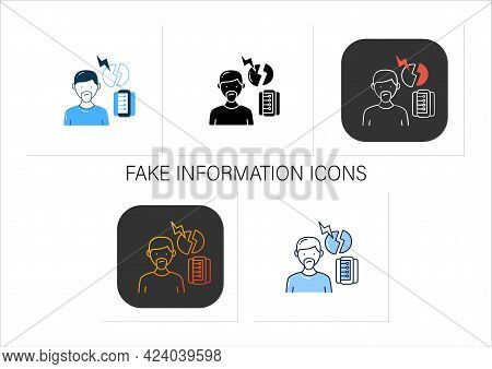 Fake Information Icons Set. Contradictions And Inaccuracies In Available Information. Information Ov
