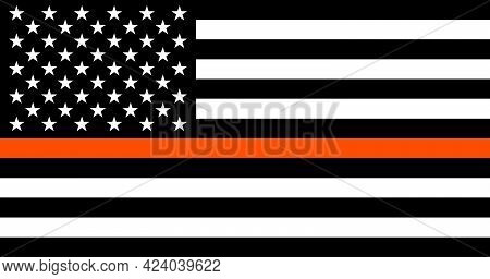 American Black And White Flat Flag With A Thin Orange Line In Honour Of Search And Rescue Personnel.