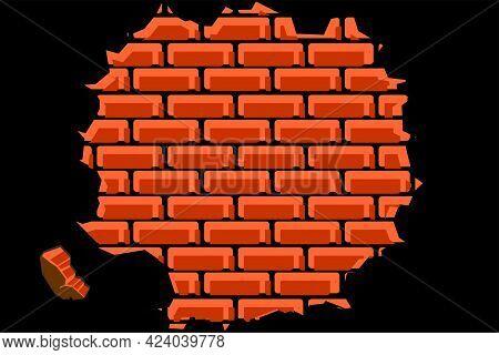 Brick Wall Texture. Abstract Background Of Reddish Orange Masonry. Arrangement Of Bricks. Vector Ill