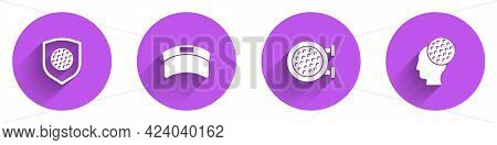 Set Golf Ball With Shield, Sun Visor Cap, Sport Club And Icon With Long Shadow. Vector