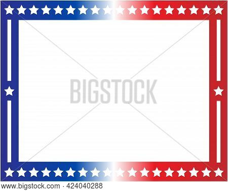 American Flag Symbols Border Frame With Blank Space For Text.