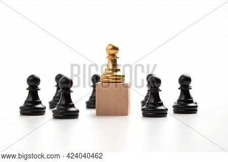 The Leadership Of The Golden Chess Pawn Standing On The Box Show Influence And Empowerment. Concept