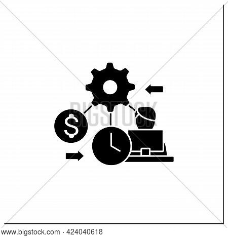 Resource Management Glyph Icon. Person Manages Various Resources Effectively On Laptop. Workers Budg