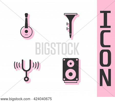 Set Stereo Speaker, Banjo, Musical Tuning Fork And Drum And Drum Sticks Icon. Vector
